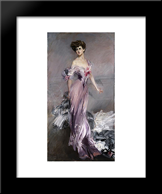 Portrait Of Mrs. Howard Johnston: Modern Custom Black Framed Art Print by Giovanni Boldini