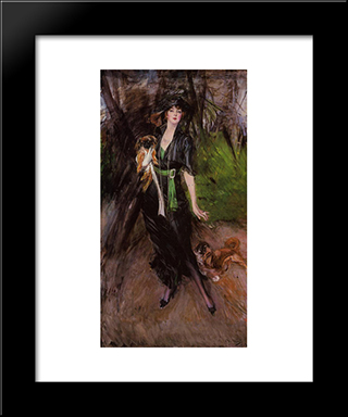 Portrait Of A Lady, Lina Bilitis, With Two Pekinese: Modern Custom Black Framed Art Print by Giovanni Boldini