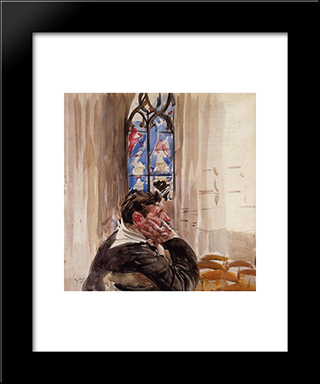 Portrait Of A Man In Church: Modern Custom Black Framed Art Print by Giovanni Boldini