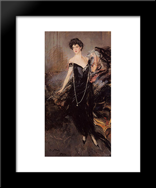 Portrait Of Donna Franca Florio: Modern Custom Black Framed Art Print by Giovanni Boldini