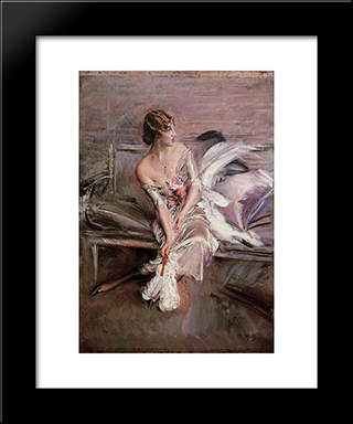 Portrait Of Gladys Deacon: Modern Custom Black Framed Art Print by Giovanni Boldini