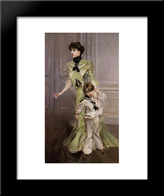 Portrait Of Madame Georges Hugo (Nee Pauleen Menard'Dozian) And Her Son, Jean: Modern Custom Black Framed Art Print by Giovanni Boldini