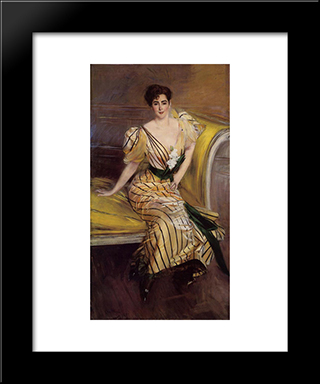 Portrait Of Madame Josephina Alvear De Errazuriz: Modern Custom Black Framed Art Print by Giovanni Boldini
