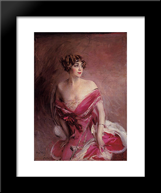 Portrait Of Mlle De Gillespie, 'La Dame De Biarritz': Modern Custom Black Framed Art Print by Giovanni Boldini