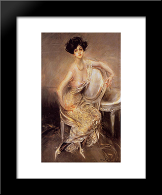 Portrait Of Rita De Acosta Lydig: Modern Custom Black Framed Art Print by Giovanni Boldini