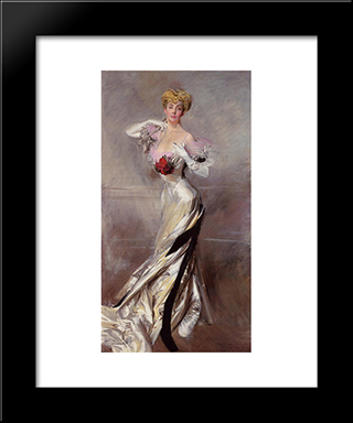 Portrait Of The Countess Zichy: Modern Custom Black Framed Art Print by Giovanni Boldini