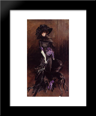 Portrait Of The Marchesa Luisa Casati, With A Greyhound: Modern Custom Black Framed Art Print by Giovanni Boldini