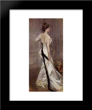 The Black Sash: Modern Custom Black Framed Art Print by Giovanni Boldini