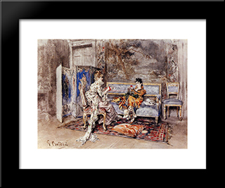 The Conversation: Modern Custom Black Framed Art Print by Giovanni Boldini