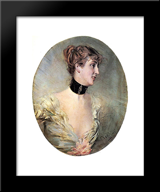 The Countess Ritzer: Modern Custom Black Framed Art Print by Giovanni Boldini