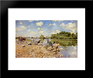 The Laundry: Modern Custom Black Framed Art Print by Giovanni Boldini