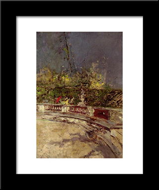 The Red Umbrella: Modern Custom Black Framed Art Print by Giovanni Boldini