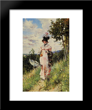 The Summer Stroll: Modern Custom Black Framed Art Print by Giovanni Boldini