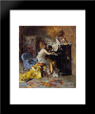 Woman At A Piano: Modern Custom Black Framed Art Print by Giovanni Boldini
