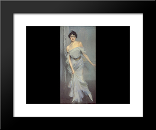 Madame Charles Max: Modern Custom Black Framed Art Print by Giovanni Boldini