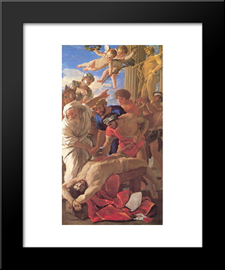 The Martyrdom Of St Erasmus: Modern Custom Black Framed Art Print by Nicolas Poussin