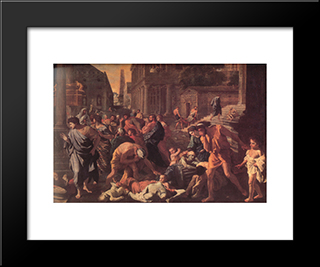 The Plague Of Ashdod ' Detail: Modern Custom Black Framed Art Print by Nicolas Poussin
