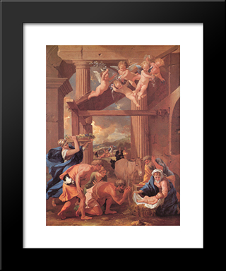 The Adoration Of The Shepherds: Modern Custom Black Framed Art Print by Nicolas Poussin