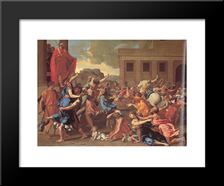 The Rape Of The Sabine Women: Modern Custom Black Framed Art Print by Nicolas Poussin