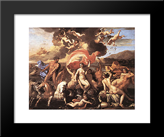 The Triumph Of Neptune: Modern Custom Black Framed Art Print by Nicolas Poussin