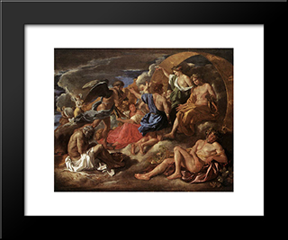 Helios And Phaeton With Saturn And The Four Seasons: Modern Custom Black Framed Art Print by Nicolas Poussin
