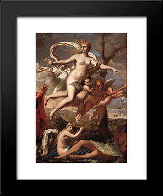 Venus Presenting Arms To Aeneas [Detail: 1]: Modern Custom Black Framed Art Print by Nicolas Poussin