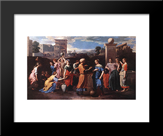 Rebecca At The Well: Modern Custom Black Framed Art Print by Nicolas Poussin