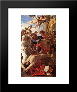 The Matyrdom Of St Erasmus: Modern Custom Black Framed Art Print by Nicolas Poussin