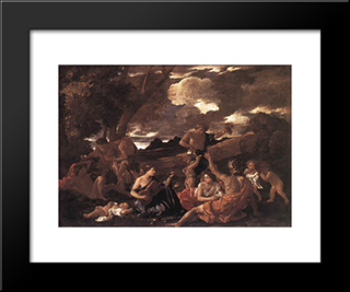 Bacchanal: The Andrians: Modern Custom Black Framed Art Print by Nicolas Poussin