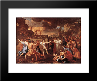 Adoration Of The Golden Calf: Modern Custom Black Framed Art Print by Nicolas Poussin
