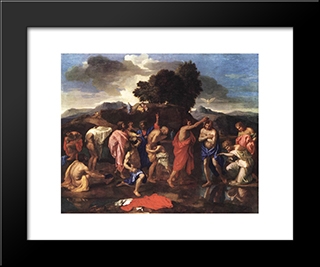 Sacrament Of Baptism: Modern Custom Black Framed Art Print by Nicolas Poussin