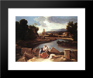 Landscape With St Matthew And The Angel: Modern Custom Black Framed Art Print by Nicolas Poussin