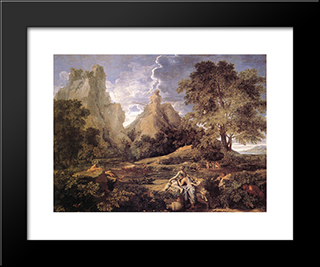 Landscape With Polyphemus: Modern Custom Black Framed Art Print by Nicolas Poussin