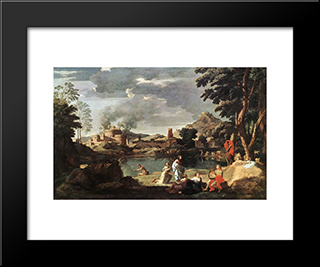 Landscape With Orpheus And Euridice: Modern Custom Black Framed Art Print by Nicolas Poussin