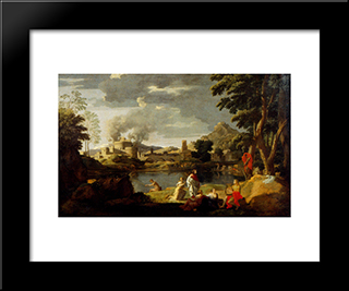 Landscape With Orpheus And Eurydice: Modern Custom Black Framed Art Print by Nicolas Poussin