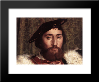 The Ambassadors [Detail: 2]: Modern Custom Black Framed Art Print by Hans Holbein the Younger
