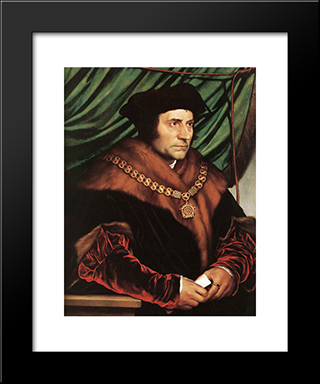 Sir Thomas More: Modern Custom Black Framed Art Print by Hans Holbein the Younger