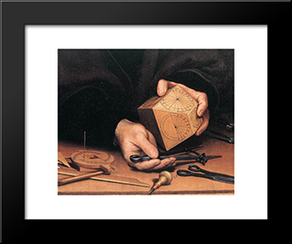 Portrait Of Nikolaus Kratzer [Detail: 1]: Modern Custom Black Framed Art Print by Hans Holbein the Younger