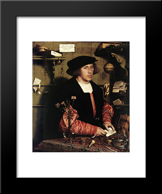 Portrait Of The Merchant Georg Gisze: Modern Custom Black Framed Art Print by Hans Holbein the Younger