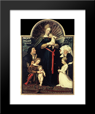 Darmstadt Madonna: Modern Custom Black Framed Art Print by Hans Holbein the Younger
