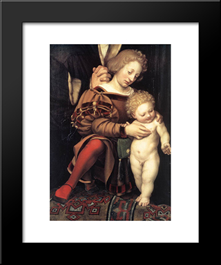 Darmstadt Madonna [Detail: 2]: Modern Custom Black Framed Art Print by Hans Holbein the Younger