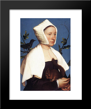 Portrait Of A Lady With A Squirrel And A Starling: Modern Custom Black Framed Art Print by Hans Holbein the Younger
