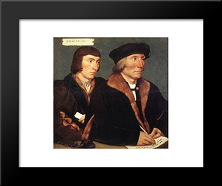 Double Portrait Of Sir Thomas Godsalve And His Son John: Modern Custom Black Framed Art Print by Hans Holbein the Younger
