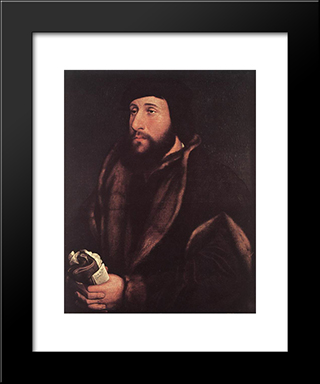 Portrait Of A Man Holding Gloves And Letter: Modern Custom Black Framed Art Print by Hans Holbein the Younger