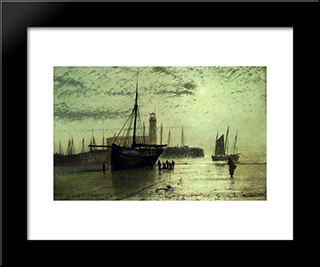 The Lighthouse At Scarborough: Modern Custom Black Framed Art Print by John Atkinson Grimshaw