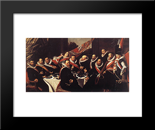 Banquet Of The Officers Of The St. George Civic Guard: Modern Custom Black Framed Art Print by Frans Hals
