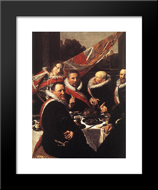 Banquet Of The Officers Of The St. George Civic Guard [Detail]: Modern Custom Black Framed Art Print by Frans Hals
