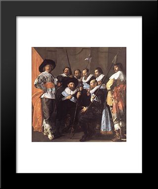 The Meagre Company [Detail]: Modern Custom Black Framed Art Print by Frans Hals