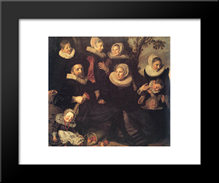 Family Portrait In A Landscape: Modern Custom Black Framed Art Print by Frans Hals