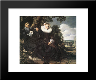 Married Couple In A Garden: Modern Custom Black Framed Art Print by Frans Hals